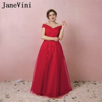JaneVini Vestidos Red Lace Appliques Mother of Bride Dress V Neck A Line Floor Length Tulle Formal Evening Party Gowns Plus Size
