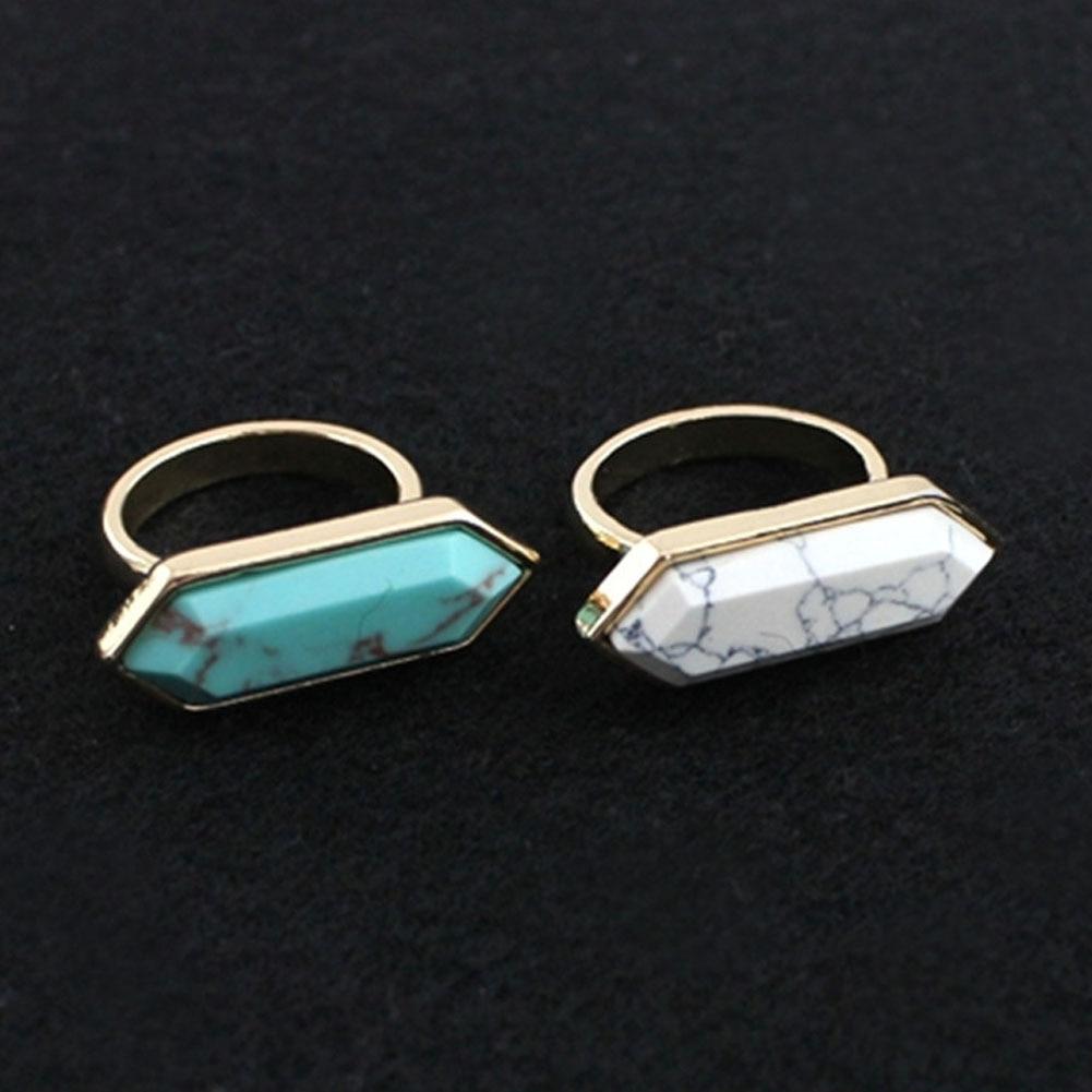 Բնական քար Druzy Quartz Crystal Women Rings Drusy Green Rose - Նորաձև զարդեր - Լուսանկար 5