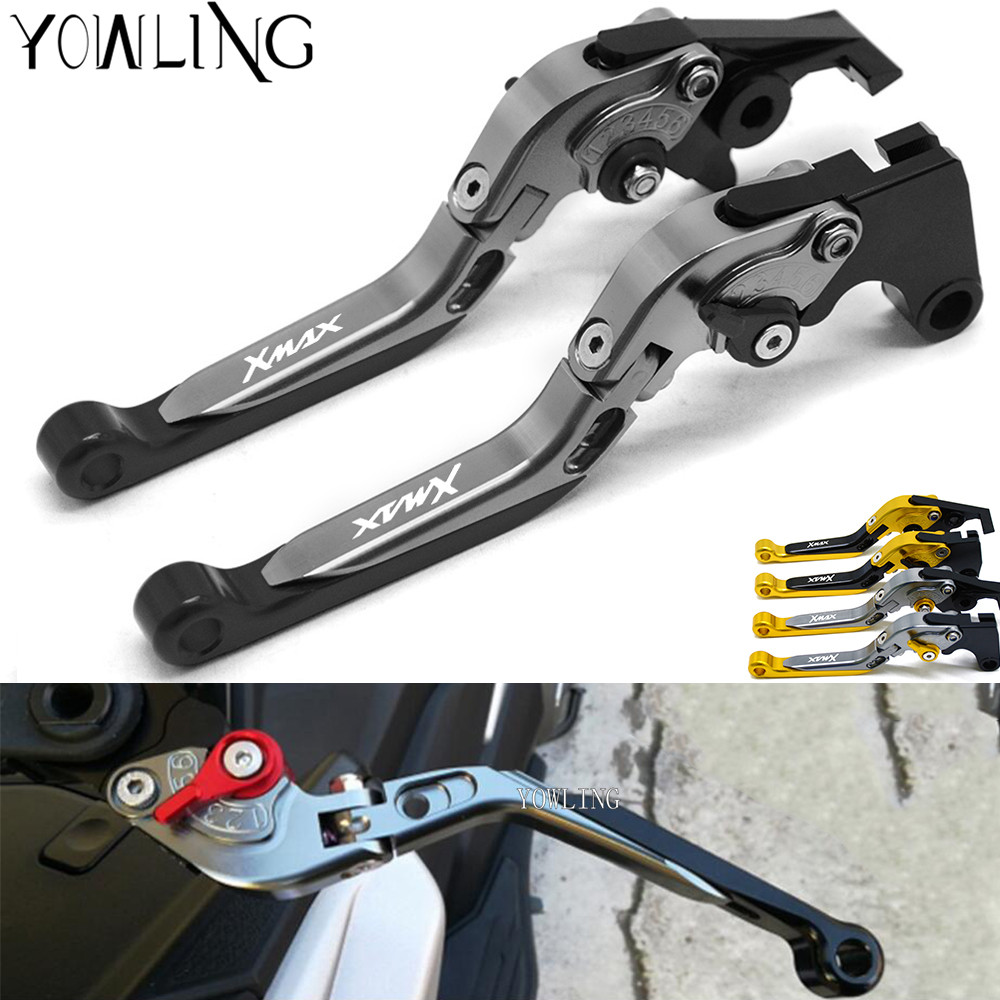 XMAX Motorcycle aluminum Adjustable brake clutch levers For Yamaha X MAX X-MAX 250 X MAX400 handle bar accessoriesXMAX Motorcycle aluminum Adjustable brake clutch levers For Yamaha X MAX X-MAX 250 X MAX400 handle bar accessories
