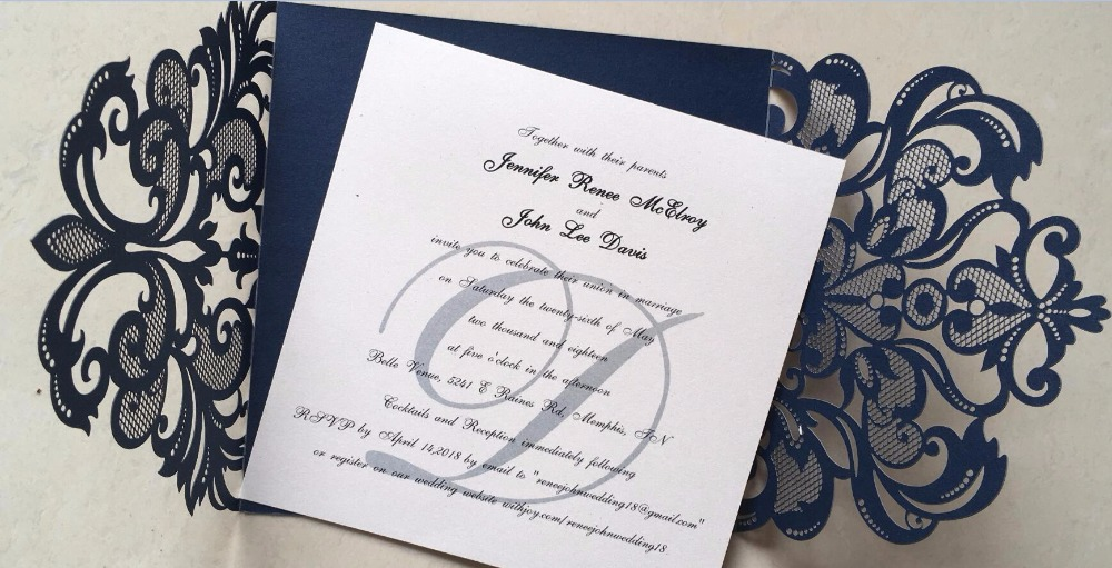 Invitations De Mariage De Luxe Gris Parti Invitation Creux Fleur