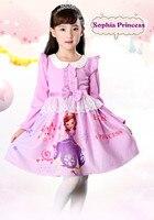 Spring autumn children clothes girls bow knot long sleeve dress sweet lace dress 2018 new purple Sophia Princess dress.YL22B