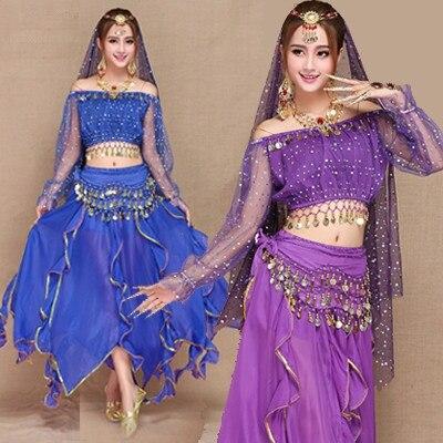 5gab. (Augšdaļa + svārki + josta + plīvurs + galvassegas) 6 krāsas jauns seksīgu vēderdeju kostīmu komplekts Bolivudas indiešu deju kostīmi deju apģērbi