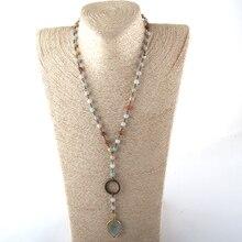 MOODPC, модные ювелирные изделия, 6 мм, натуральный камень, четки, цепочка и стеклянный бисер, камень, кулон, ожерелье, s, женское этническое ожерелье