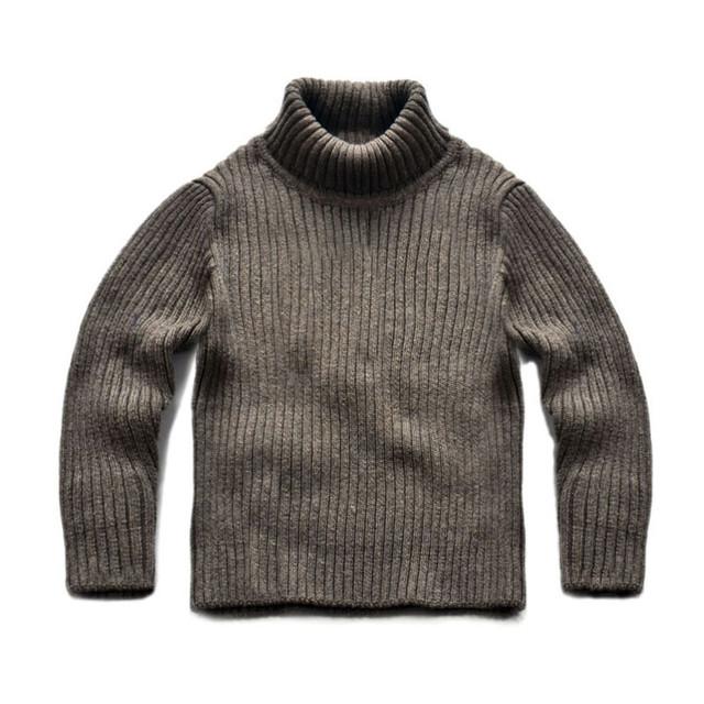 Infantil chicos chicas sólido blanco gris de cuello alto de algodón ocasional costilla jersey de punto jerseys niños otoño invierno suéter base de ropa