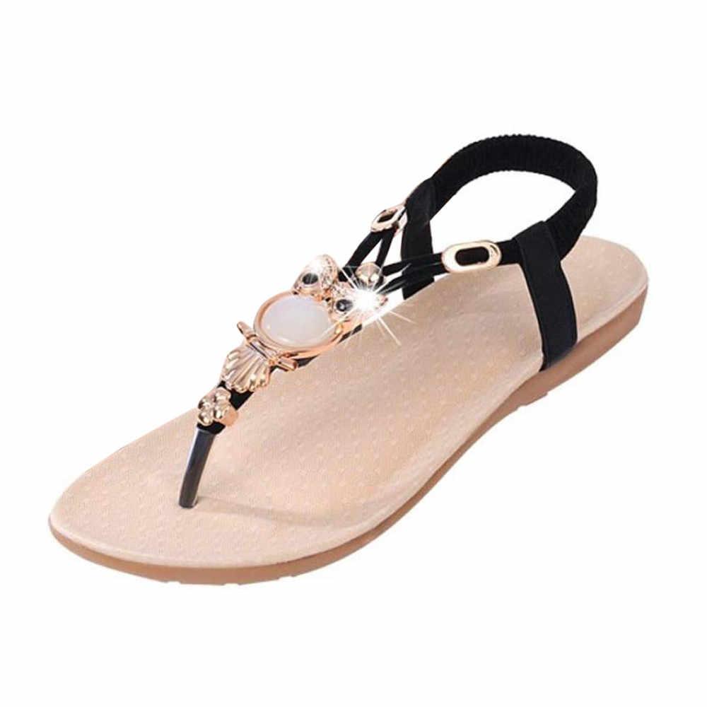 Kadın sandalet taklidi baykuş tatlı sandalet klip ayak sandalet Slip-on yumuşak alt plaj ayakkabısı sandalet zapatos de mujer 2020 yeni