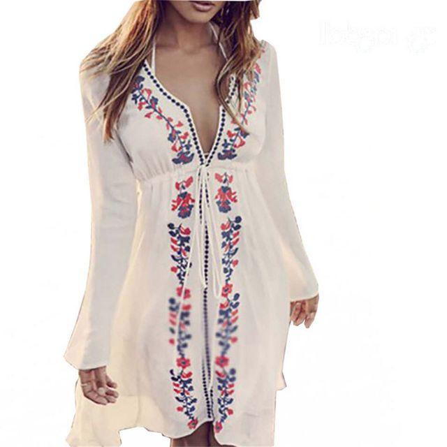 b5c665003f Mayo Cover Up Elbise Nakış Beyaz Yaz Plaj Elbiseler Pamuk Seksi Kadın  Kolluk mayo Coverups Derin V Tunik