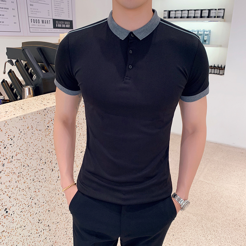 British Style Mens   Polo   Shirts Top Quality Summer Short Sleeve   Polo   Shirt Men Slim Fit Casual Turn Down Collar Men's   Polo   Shirt