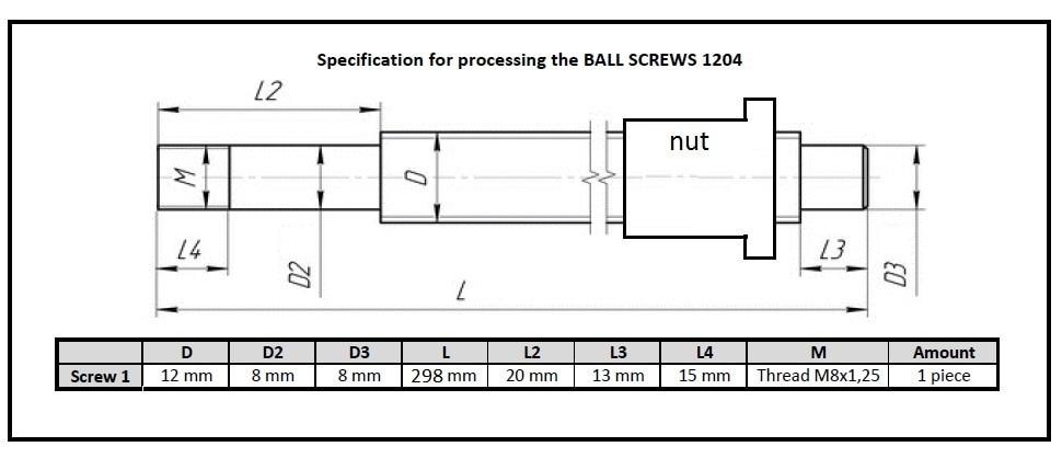 1pc SFU1204 -  298mm ballscrew + 1pc Ballnut  process according to the drawing электрокастрюля according to the spirit