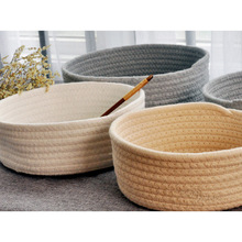 Hand Woven Basket Laundry Storage Office Sundries Handmade Knitting Cotton Hamper DC156