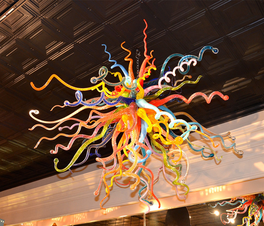 Ceiling Lights & Fans New Arrival Murano Light Amber Glass Blue Chandelier For House Decoration