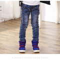 New Style Autumn&winter Fashion Patchwork Jeans for Boys Elastic Waist Children's Jeans Light Wash Trousers Kids Boys Jeans p130