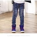 Novo Estilo de Outono & inverno Moda Patchwork Jeans para Meninos Cintura Elástica Calças Jeans de Lavagem de Luz das Crianças Dos Miúdos Meninos calças de brim p130