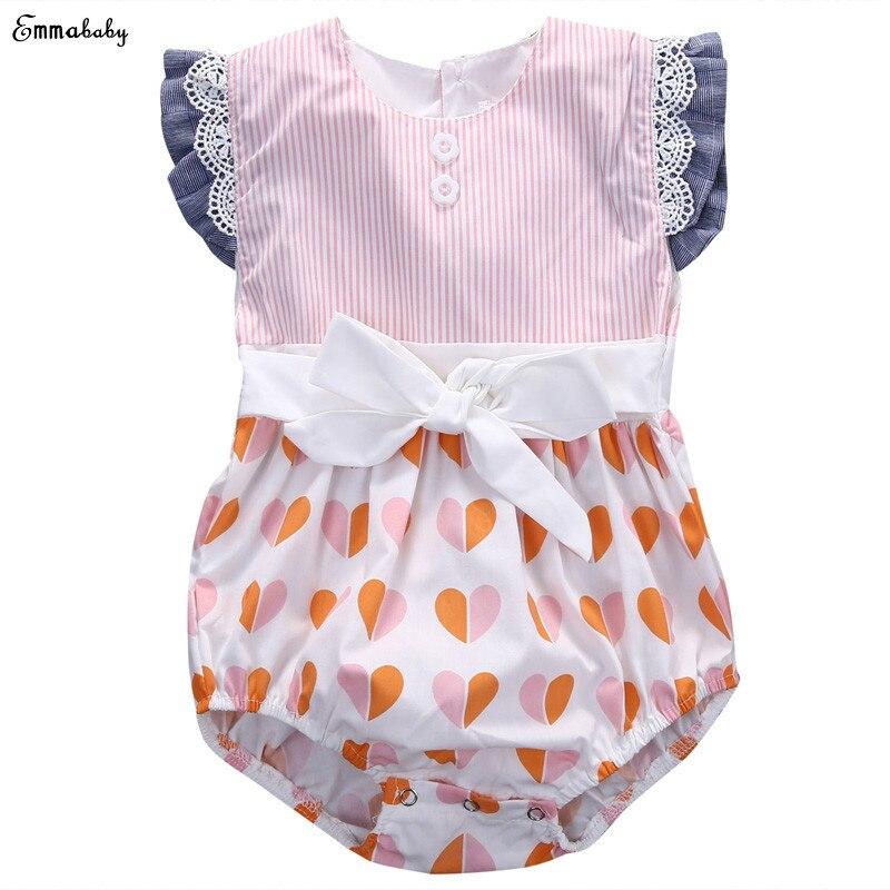 198bffd579 Adorável Bebê Recém-nascido Da Menina Roupas Bebes Flor Rendas Infantil  Corpo Crianças Sunsuit Romper Jumpsuit Arco Verão 0-12 M