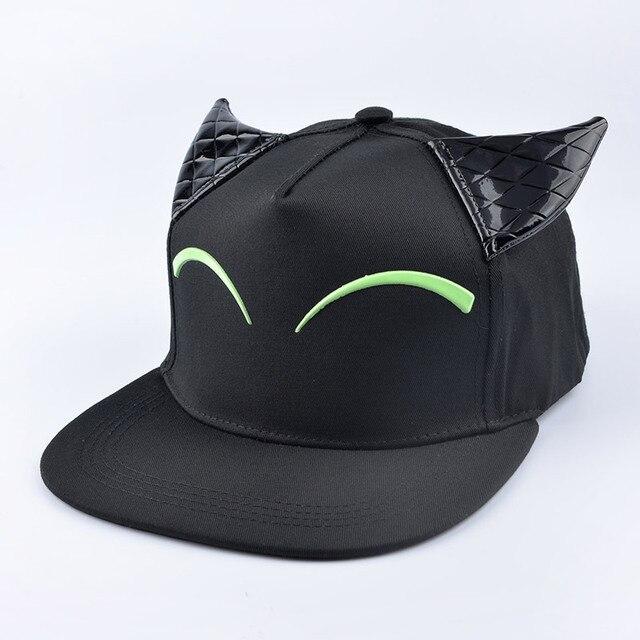 2016 verano nueva negro Precioso Gato de Dibujos Animados Orejas Cuernos de  Diablo gorra de Béisbol 43b4fea9b7a