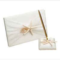 2pcs/set (Pen holder+Guest Book) Elegant White Satin with Starfish Decor Handmade Wedding Celebration Supplies