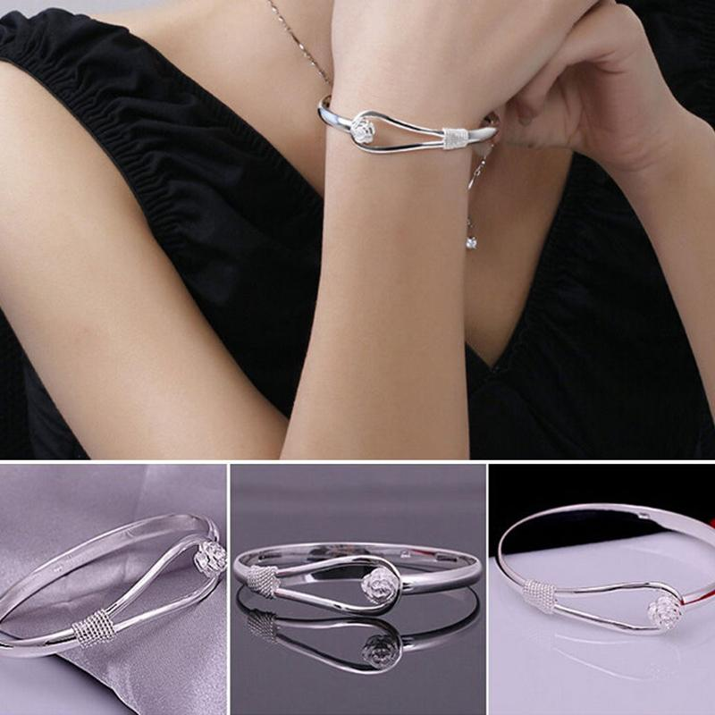 Adjustable Open Silver Plated Bracelet Bangles Rose Cuff Bracelet Jewelry