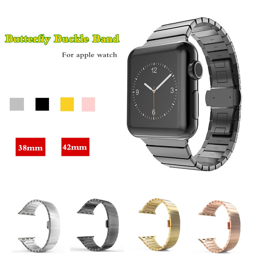 Prix pour Nouvelle arrivée De Luxe en métal sangle Pour Apple bande de montre 38mm 42mm en acier inoxydable Lien bracelet papillon boucle poignet bracelet