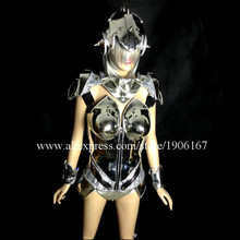 New Silver Plated Catwalk Shows Women Costume Carnival Victoria Sexy Lady Evening Dress Cabaret Stage Performance Dance Clothes