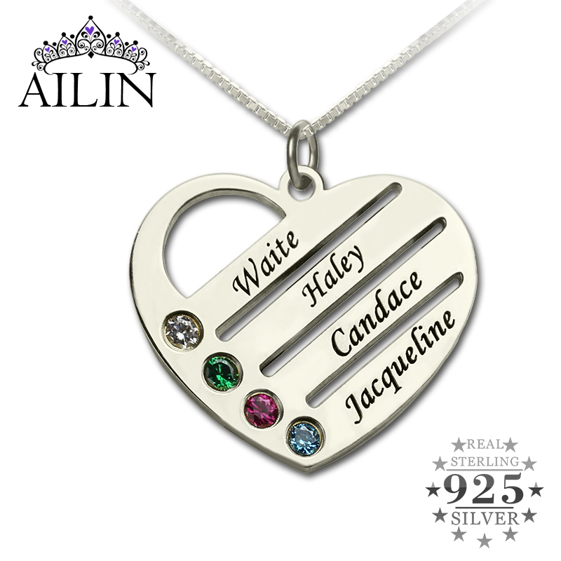 AILIN Personalized Family Necklace Mom Necklace with Kids Names Engraved Heart Mother Necklace Silver Birthstone Jewelry for Mom цена и фото