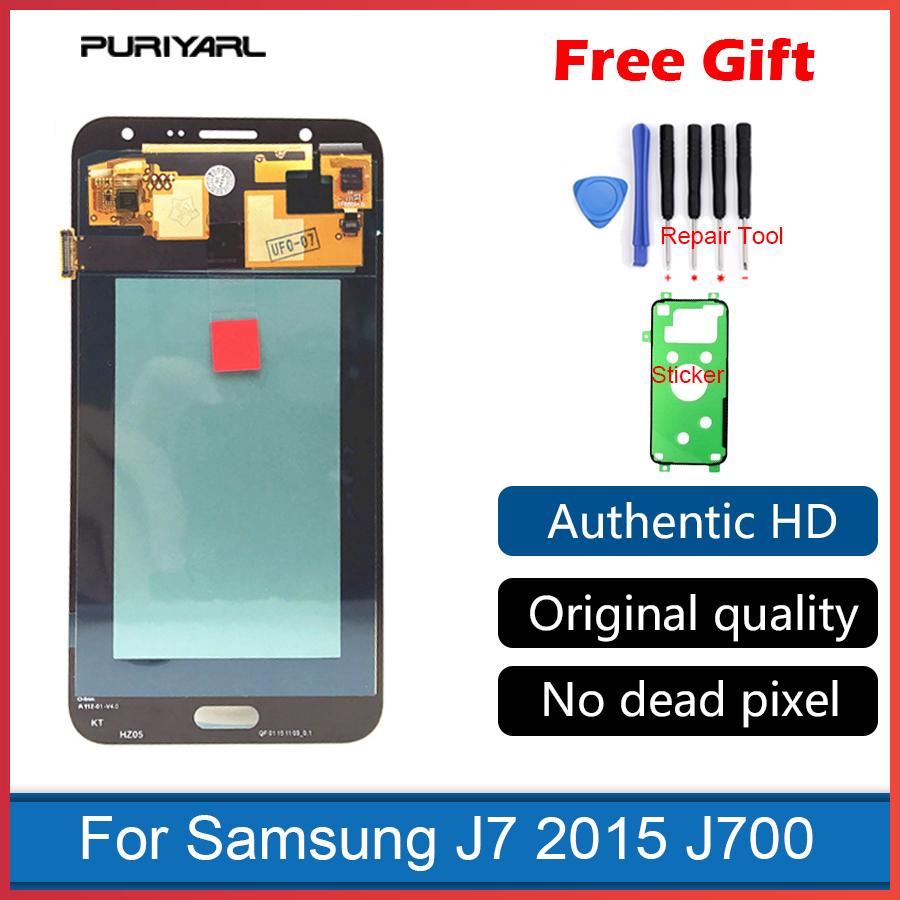 Grade AAA AMOLED LCD Display For Samsung Galaxy J7 2015 J700 J700F J700H J700M Touch Screen Digitizer Assembly Replacement