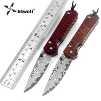 Hot Damascus Knife Tactical Folding Knife VG10 Damascus Steel Camping Survival Pocket Knife Red Sandalwood Handle