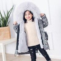 2018 New Sable Cap Collar Cotton Girl Long Clothes Boy Warm Coat Kids Clothes For Children Winter Clothes