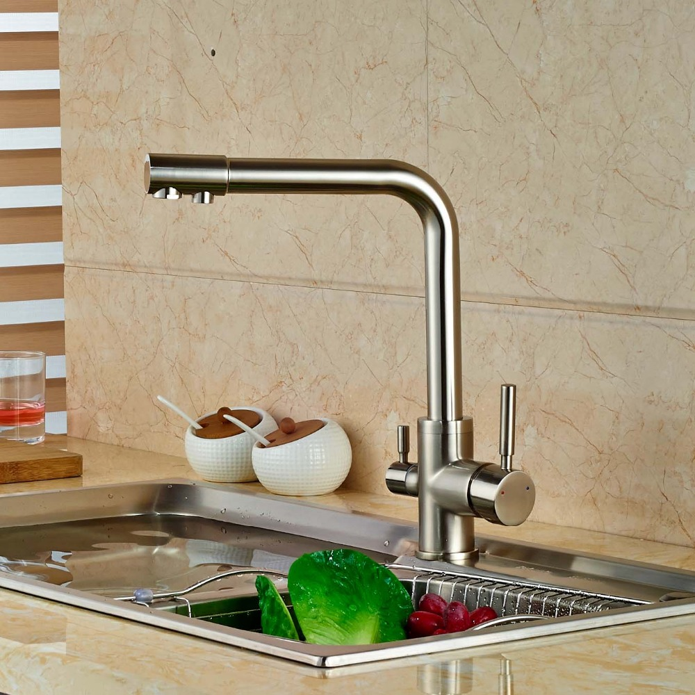 Brushed Nickel Kitchen Faucet Pure Water Spout Tap Single Hole Vessel Sink Mixer Tap
