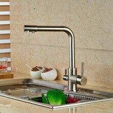 Nickel gebürstet Küchenarmatur Reines Wasser Auslauf Hahn Einlochmontage Out-behälter-wannen-mischer-hahn