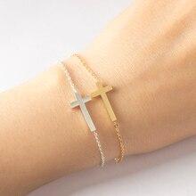Crucifix Jesus Christian Women Men Horizontal Sideways Cross Bracelets for Silver Gold Stainless Steel Bracelet Bridesmaids Gift