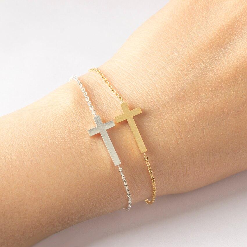 Crucifix jésus chrétien Horizontal latéral croix bracelets pour femme hommes en acier inoxydable or argent couleur demoiselles d'honneur cadeau