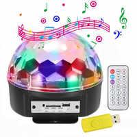6 di colore di controllo remoto di controllo vocale LED di cristallo magic ball MP3 apparecchi di illuminazione della fase KTV bar flash luci rotanti