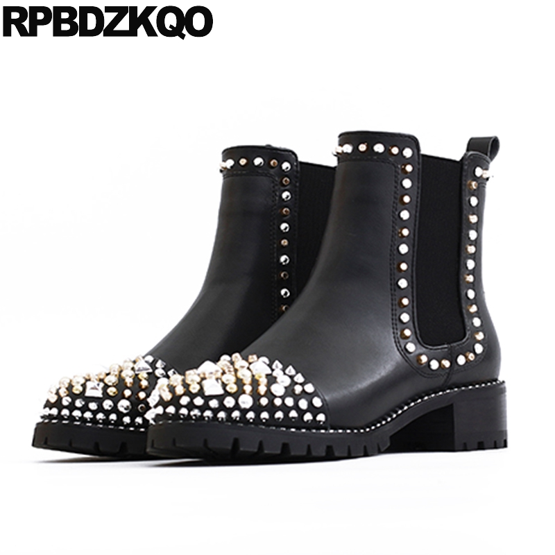 Ankle Fashion Stud Brand Women Winter Boots Genuine Leather Embellished Elastic Rhinestone Chelsea Slip On Shoes Metal Rivet elastic band women genuine leather ankle boots chelsea hand made shoes motorcycle coincise fashion black matte women s boots