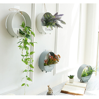 1 Set Rose Succulents Wall Hanging Round White Gray Black Iron Vase Artificial Flowers Home Wedding