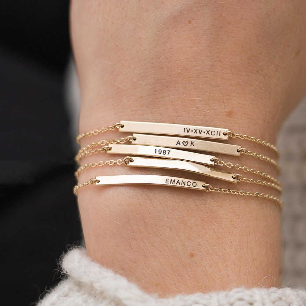 EManco لتقوم بها بنفسك اسم مخصص أساور استانليس ستيل للنساء الأولي شخصية متعدد الطبقات سوار أفضل صديق سوار مجوهرات