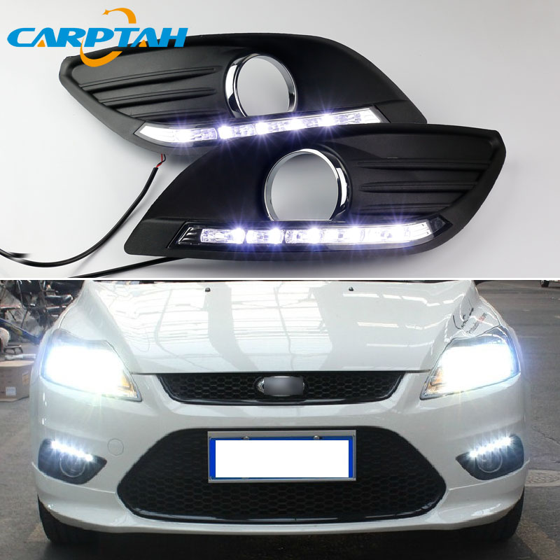 LED Daytime Running Light For Ford Focus 2 Sedan 2009 2010 2011 Waterproof 12V Fog Lamp