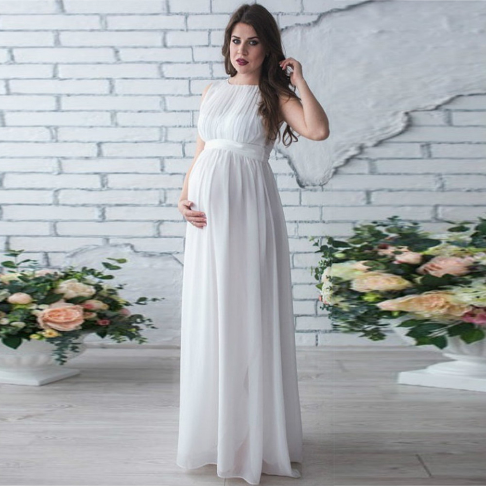 Floor length chiffon women maternity dresses solid high waist mommy ...