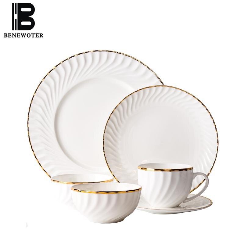 11PCS/Lot Creative Ceramic Bone China Tableware Set Handmade Gold Rim Rice Bowls Soup Dessert Bowl Spaghetti Plate Pastry Dishes