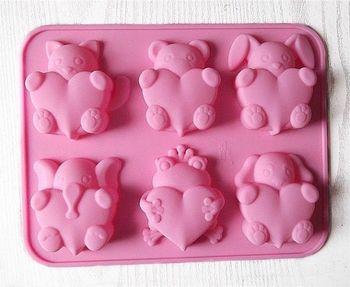Molde de silicona de corazón de elefante de 6 osos para molde de pastel de Chocolate de caramelo