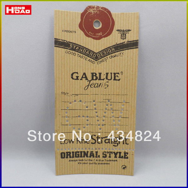 customized kraft hangtag for jeans wholesale