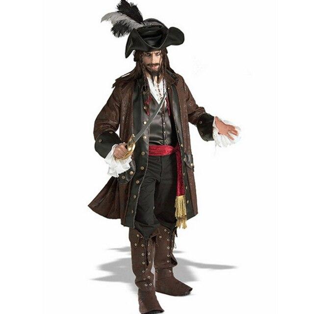 23e5b4092e83d Pirata Figurino Cosplay Piratas do Caribe Capitão Jack Sparrow Halloween  Inclui Camisa + Colete + Casaco