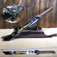 Японский меч катана меч высокий Марганец стальное оружие твердый меч украшение дома не открытое лезвие реквизит для косплея