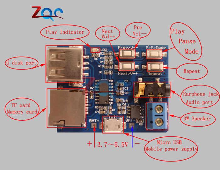 Mp3 Non Distruttivo Scheda di Decodifica Built-in Amplificatore Mp3 Modulo Mp3 Decoder Decodifica Carta di Tf U Disco Lettore Micro Usb