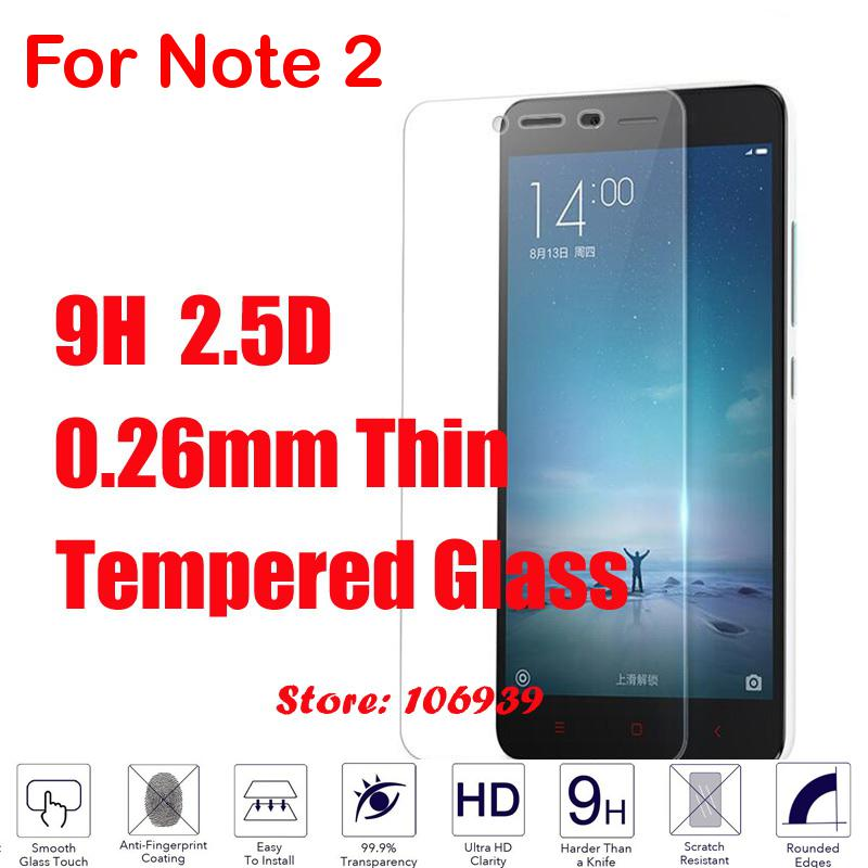 9H Hardness Hard 2.5D 0.26mm Phone LCD Display Accessories Tempered Glass For Xiaomi Redmi Red mi Hong mi Red rice Note 2 Note2