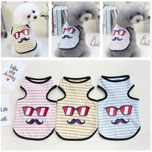 Quality Striped Cotton Dog Clothes Summer and  spring Tshirt For Small glasses beard striped vest S-XXL