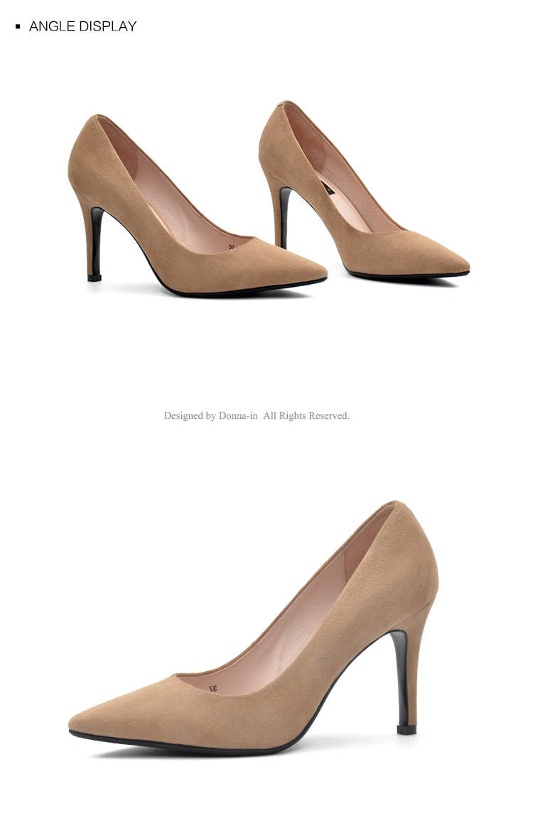 Donna-in 2017 New Style High heels pumps Natural suede leather Sexy Pointed Toe Office Singles Heeled woman Shoes 3255-1 (14)