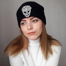 da39f90144bde Beanies Winter woman warm hats Luxury Crystal Skull Heads Knit Hat Toucas  Bonnet Hats man hat