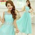 2017 New Elegant Long girls lace V-Neck plus size Green color vestidos Evening Dress