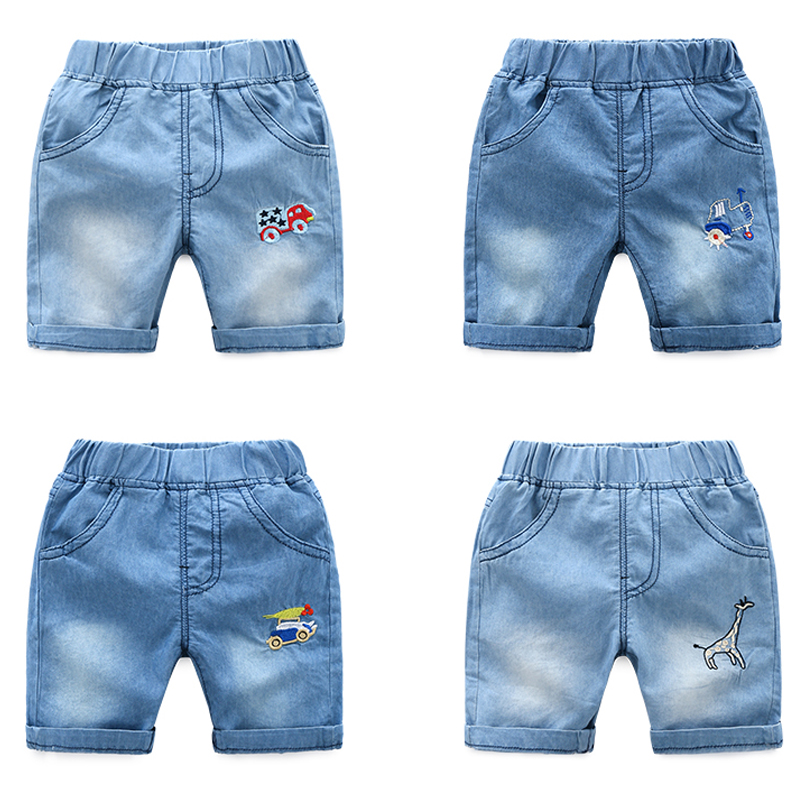 Baby denim shorts 2018 summer new boy children's children's elastic waist tide pants thin section pants