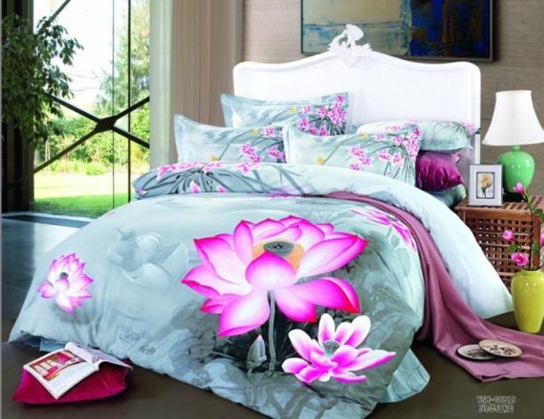 Light Blue Floral Lotus Flower Bedding Set King Queen Size Duvet