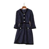 purlish blue three quarter sleeve v neck 2018 luxury dresses women designers high quality dress pink autumn free shipping ukrain